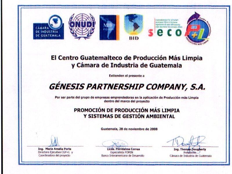 CERTIFICADO PRODUCCCION MAS LIMPIA